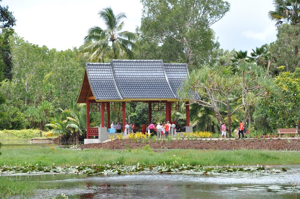 Lakeside pavillion at the Zhanjiang Friendship Garden, in the Cairns Botanic Gardens precinct