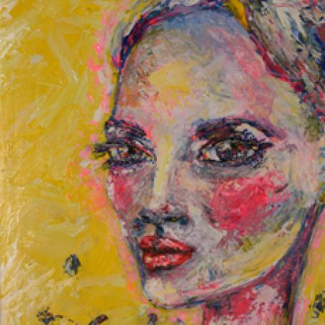 Luisa Manea portrait of woman on yellow background